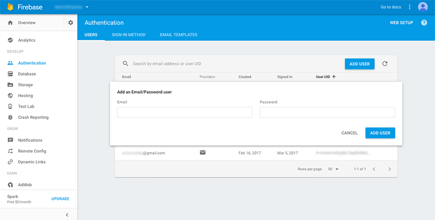 Adding a Firebase authenticated user