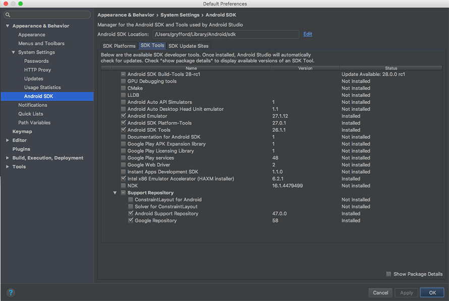 Android Studio SDK tools being updated