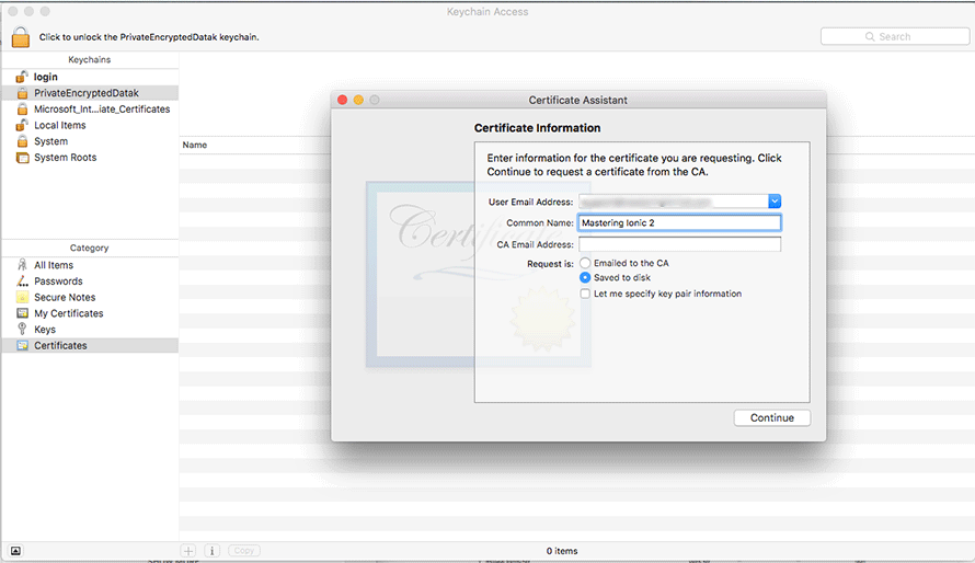 Entering certificate information in Mac OS X Keychain Access software