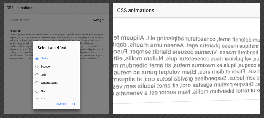Adding CSS3 animations to an Ionic framework app
