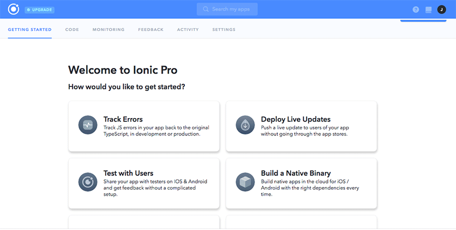 Ionic Pro application options