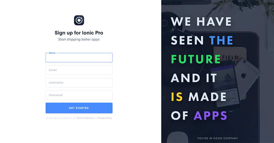 Ionic Pro sign-up screen