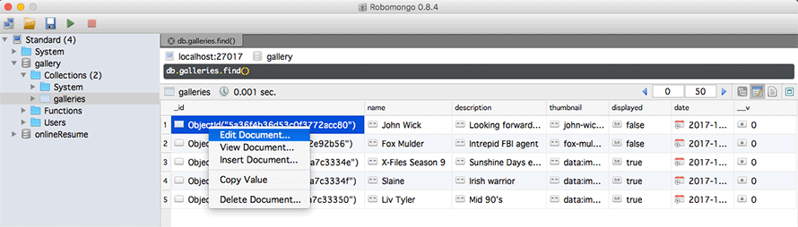 Robo 3T software displaying a contextual menu for managing a MongoDB document