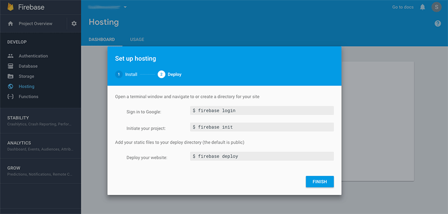 Final screen of the Firebase set up hosting wizard