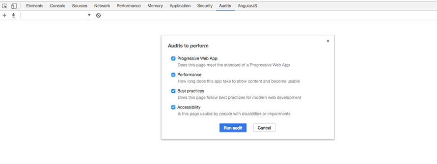 Selecting the Lighthouse PWA audit in Google Chrome Developer tools