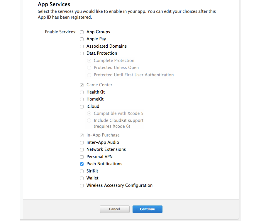 Selecting services when registering an App ID in the online Apple Developer account